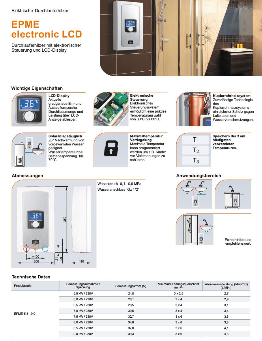 Elektrischer Durchlauferhitzer 5,5 kW bis 9 kw 230V~ mit LCD-Display Kospel EPME