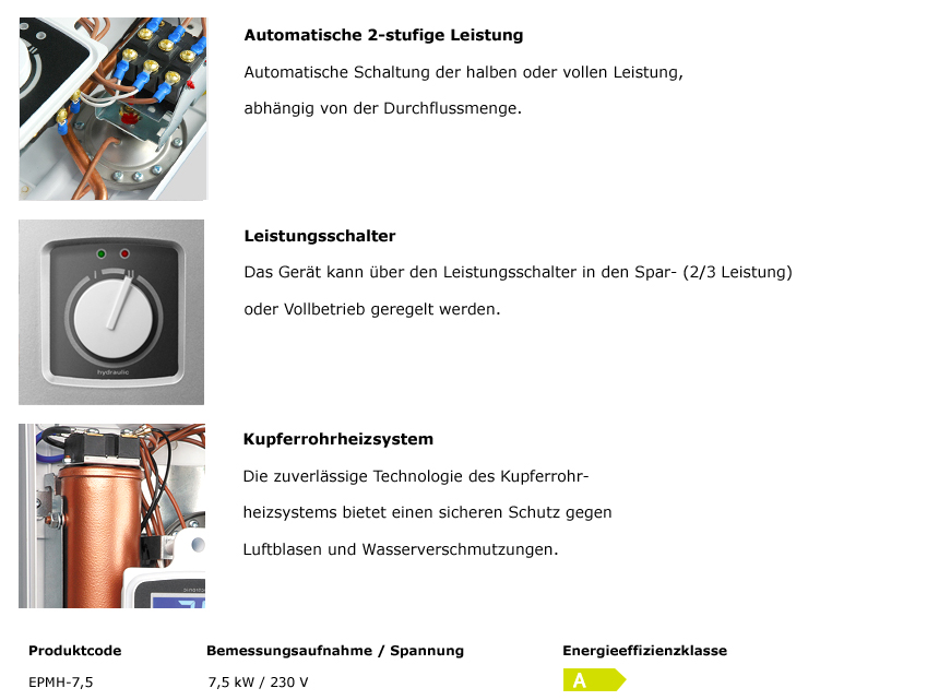 Hydraulischer Durchlauferhitzer EPMH 7,5 kW 230 V~