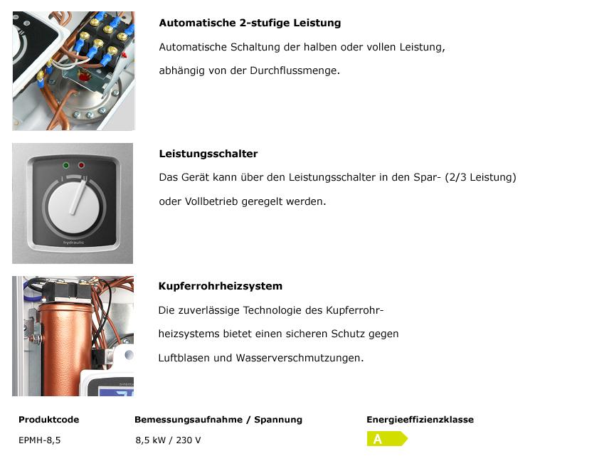 Hydraulischer Durchlauferhitzer EPMH 8,5 kW 230 V~