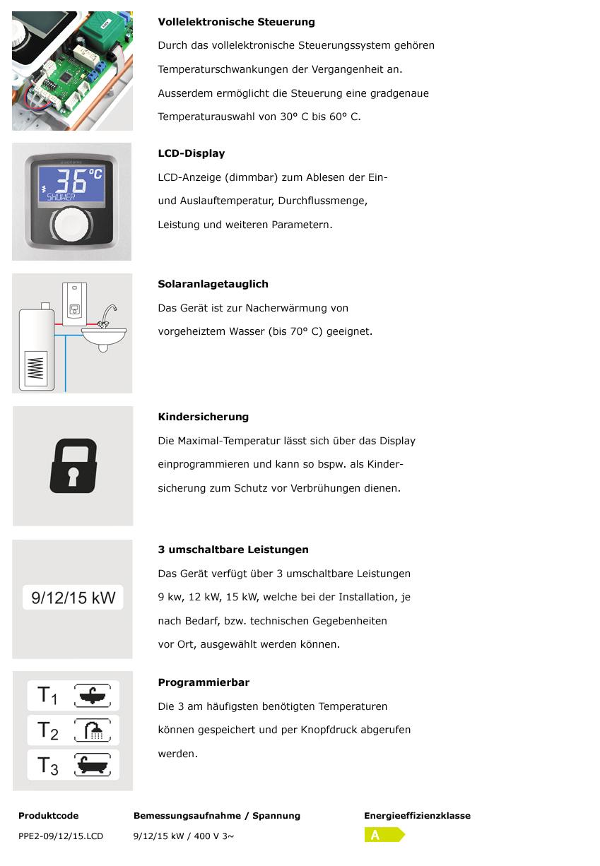PPE2-9/12/15 kW Durchlauferhitzer