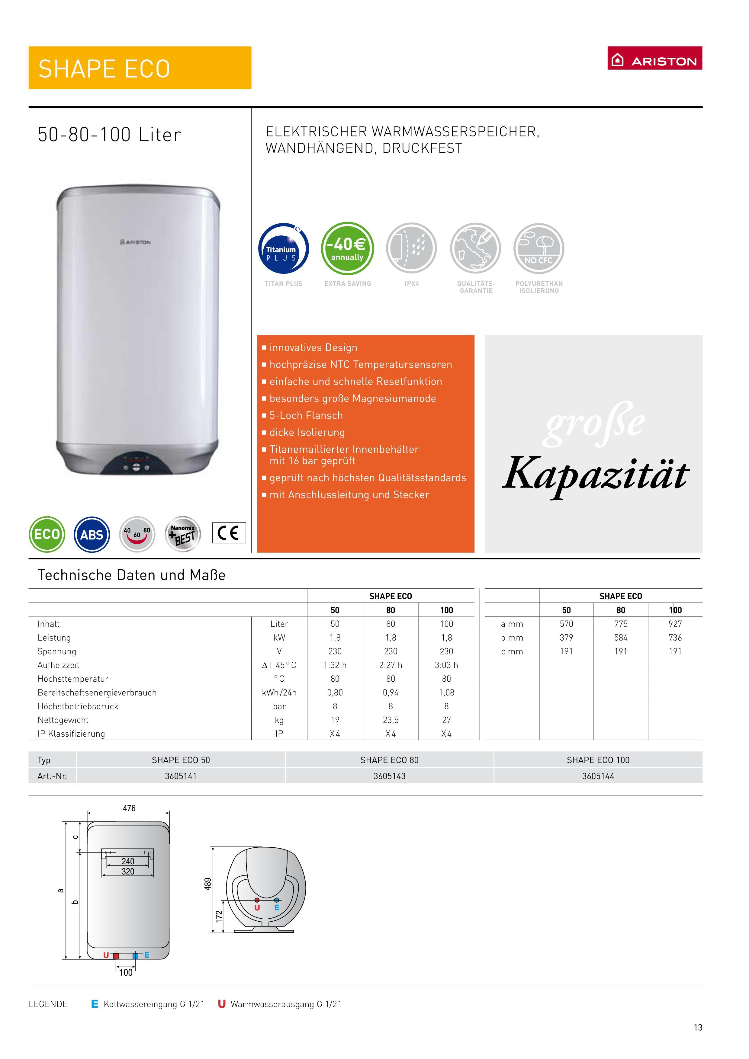 warmwasserspeicher ariston 50 l shape eco druck boiler mit. Black Bedroom Furniture Sets. Home Design Ideas